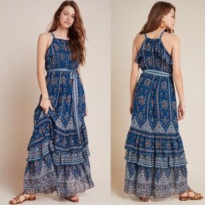 Anthropologie blue tiered Sasha ruffle maxi dress